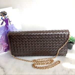 Brown Woven Leather Clutch / Sling Bag